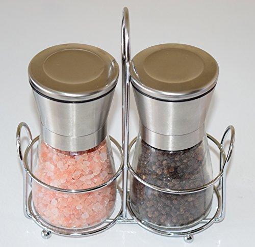 Premium Salt and Pepper Grinder Set with a Bonus Stand – Best Salt and Pepper Mill – Spice Grinder – Modern Salt and PepperShaker