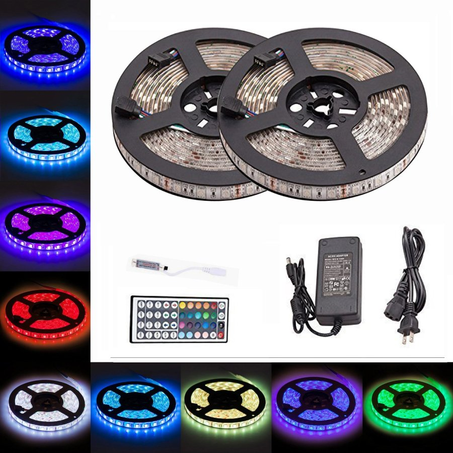 LTROP 2 Reels 12V 32.8ft Waterproof Flexible RGB LED Strip Light Kit, Color Changing SMD5050 300 LEDs, LED Strip Kit & Mini 44-key IR Controller + 12V 5A Power Supply