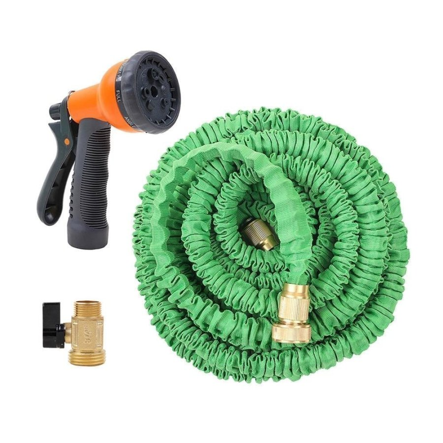 Ohuhu 50 Feet Super Strong Garden Hose / Expandable Hose with All Brass Connector & Free 8-pattern Spray Nozzle,Green