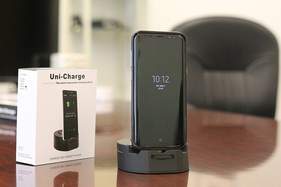 UniCharge-Universal Cell Phone Charging Station/Dock for Micro USB, Type C, Lighting, phones,tablets. One Device to charge any smartphone or tablet (Wireless Phone Accessory)