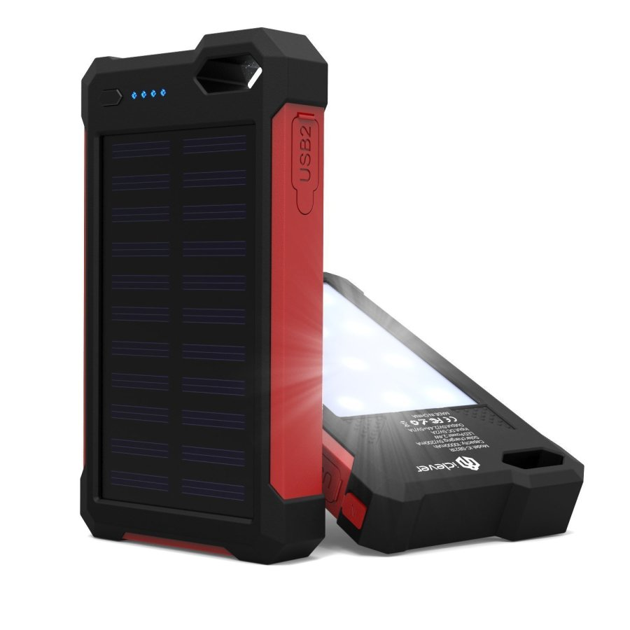 iClever [Solar Battery Charger] iClever 10000mAh Portable Solar Power Bank Dual USB Port Charger Battery with Led Light, IP67 Waterproof Solar Charger